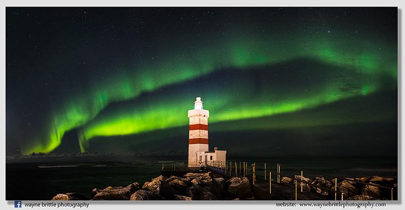 Gardur Lighthouse and the Aurora Borealis