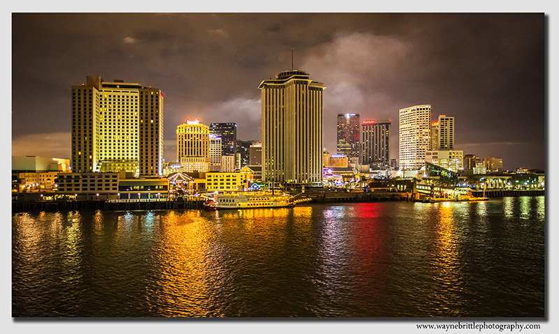 New Orleans and the Mississippi at Night