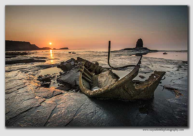Saltwick Bay, Shipwreck at Sunset - W5D31015