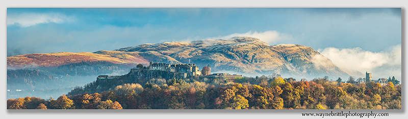 Stirling Castle and late Autumn light panorama