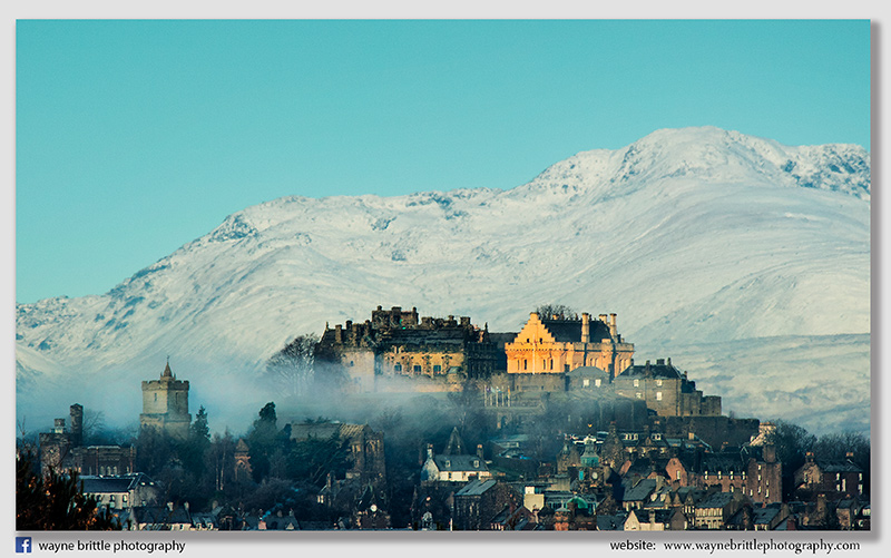 Stirling Castle and the distant snow capped mountains