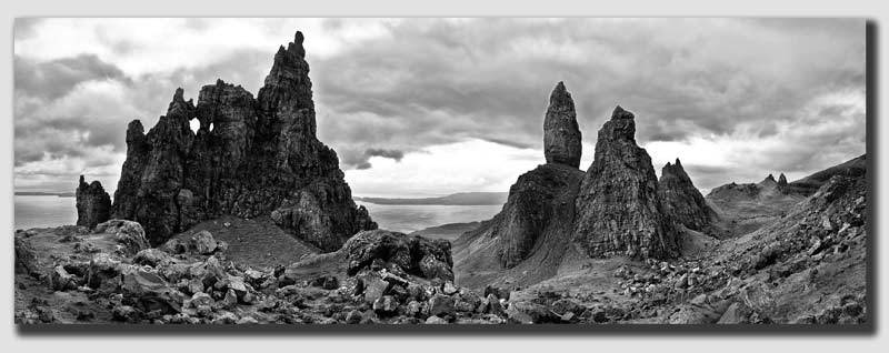 The 'Storr' - Black & White - Panorama