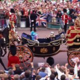 Household Cavalry escorting Queen Mother at Royal Wedding 1985