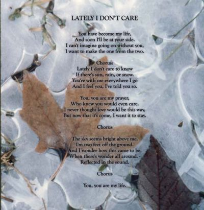 Leaf and ice with Cd lyrics
