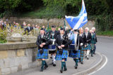 over 50 members and guests of the Coldstream Burns Club were led down to Coldstream bridge by pipers Rob Bell and Keith Guthrie and drummers James Bell and Alec Thomson to commemorate the visit to the town by Robert Burns and his crossing of the bridge entering England for the first time in May 1778