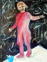 Etta with chalk