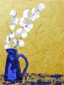 cotton in blue vase