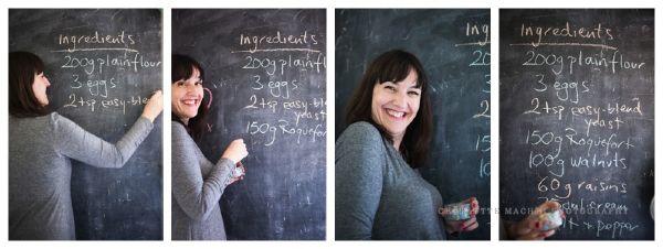 writing recipe on blackboard