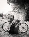 Three children with bike