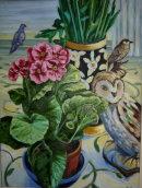'Still life with birds'. Oil on canvas. 45x35cm