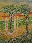 Sun set. Batik on canvas