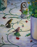 Birds with buttercups. Oil on  canvas