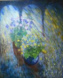 Buttercups in the light oil on board