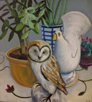 Owl and pigeon Oil on board