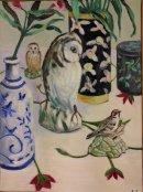 owl bird and plants (421x563)