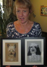 One of my students with her two fabulous pet portraits!