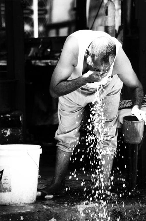 washing man
