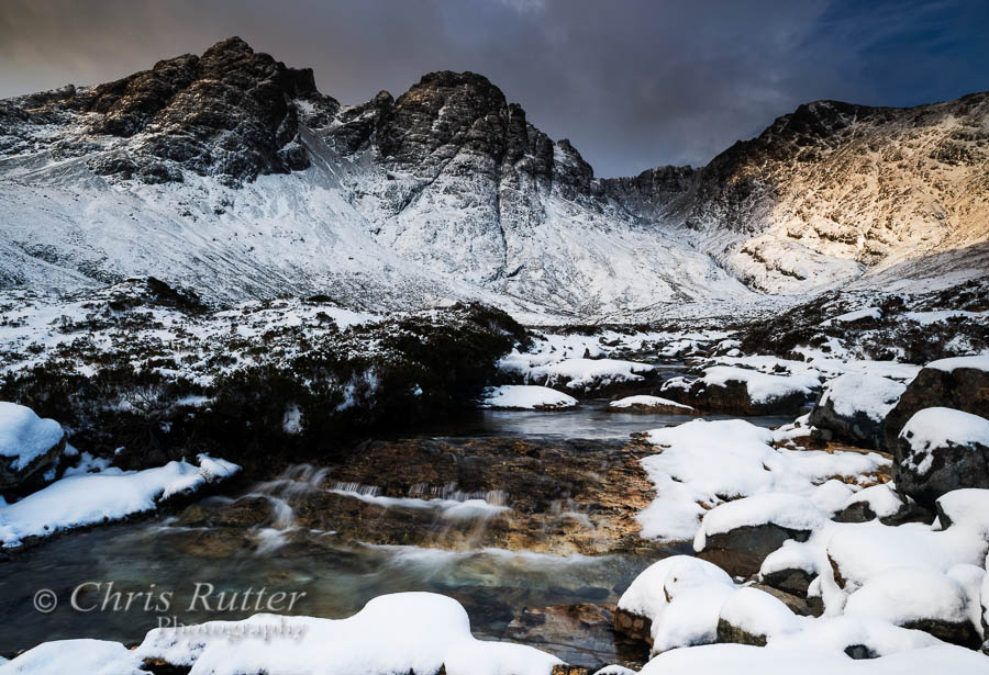Bla Bheinn snow and waterfall
