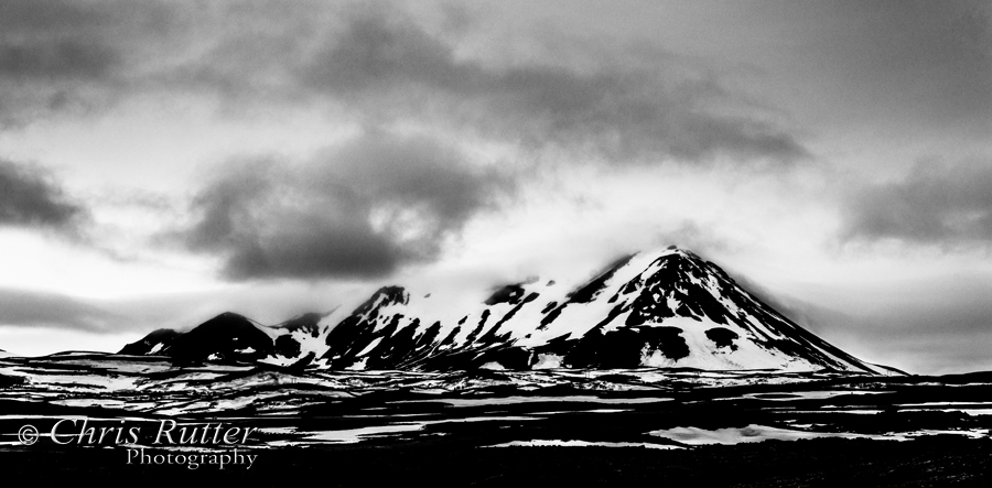mountain iceland bw