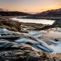 waterfall iceland sunset