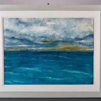 Sea and Sky 2 oil on board Framed.