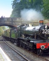 7812 Erlestoke Manor slows to Stop at Arley Station; 3rd -place in B section prints; by Phillip Green