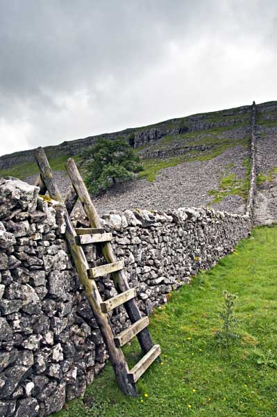 Kettlewell wall and ladder stile0042