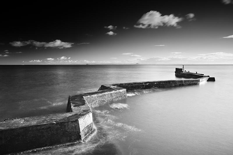 St Monans breakwater sunset0005b&w