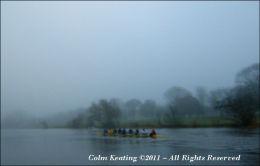 Fog on the River Liffey at Islandbridge.