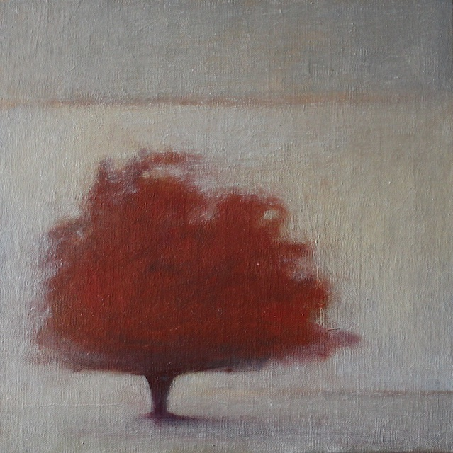 Scarlet Tree (Evening Glow) oil on panel 30 x 30