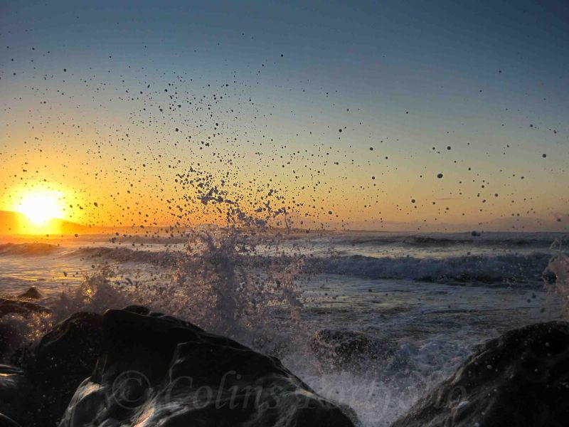 Salty spray at sunset