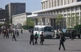Outside Pyongyang railway station