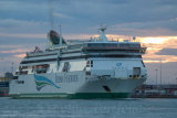 "Irish Ferries M.V. ""Ulysses"" leaving Dublin Port at dusk"