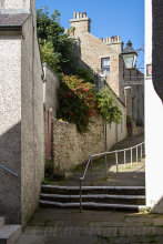 A sloping street view in Stromness