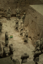 A portion of Pit #3 showing some terra-cotta warriors