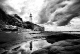 Hale lighthouse reflection (b&w)
