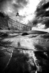 Hale lighthouse wall (b&w)
