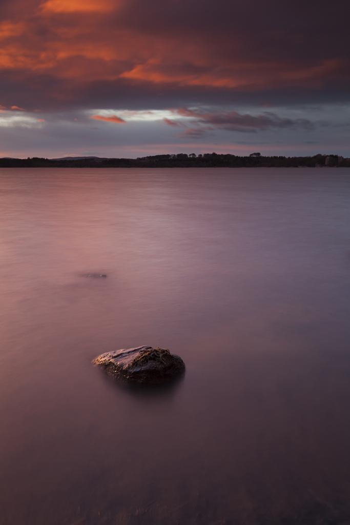lone rock, loch of skene