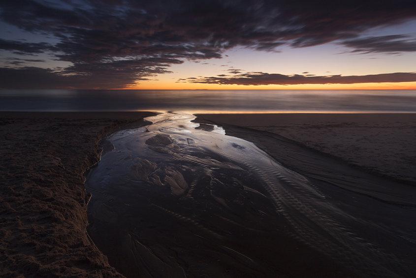 sunrise reflections, balmedie beach
