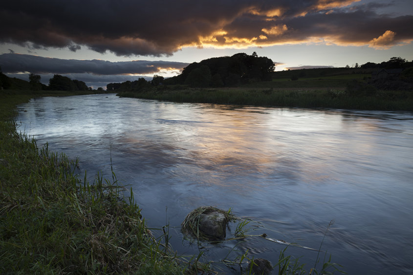 sunset over the river don