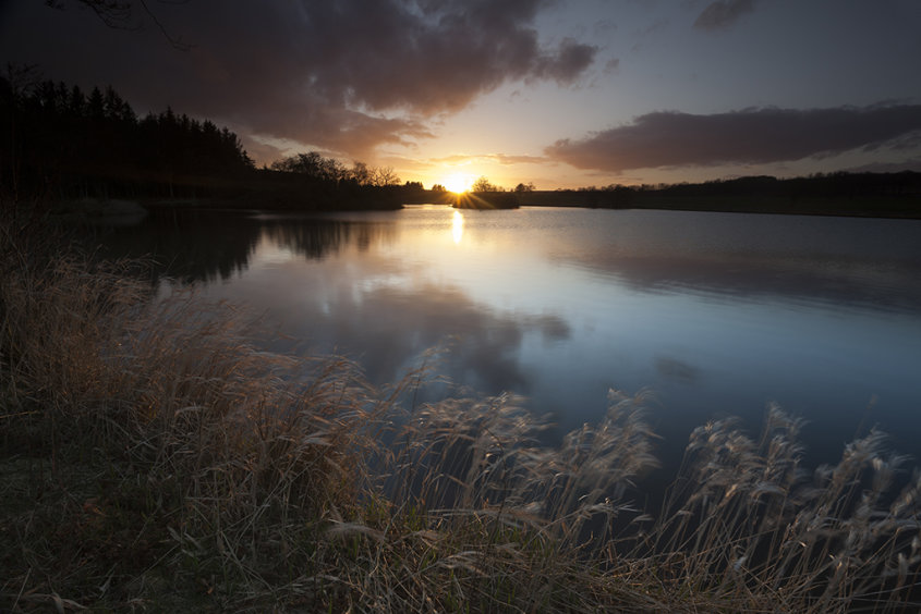 sunset, pitfour loch