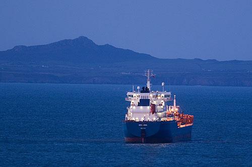 Oil Tanker at Dusk