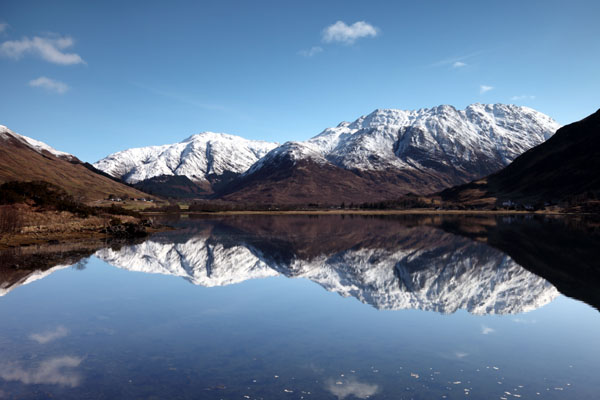 01D-0870 Winter Mountain Reflection and the View Towards the Mountains of A Ghlas bheinn and the Ridge Leading to Beinn Fhada from Loch Duich Kintail Scotland