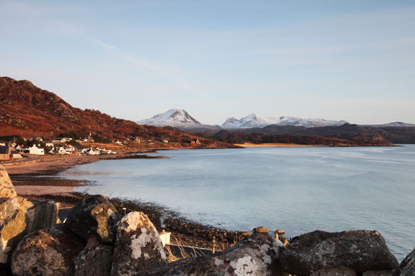 01D-0988 The Snow Covered Torridon Mountains Across Loch Gairloch in Late Evening Light Gairloch West Coast of Scotland