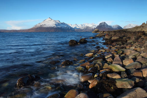 01D-8416 The Cuillin Mountains Across Loch Scavaig in Winter Viewed From Elgol Isle of Skye Scotland