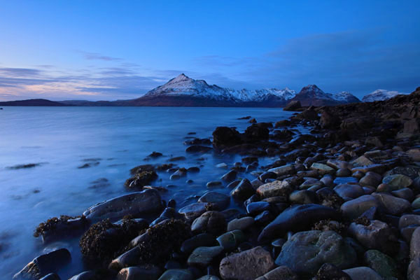01D-8594 The Cuillin Mountains Across Loch Scavaig at Dusk in Winter Viewed From Elgol Isle of Skye Scotland.