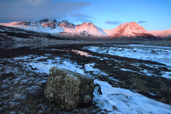 01D-8622 Dawn Light on the Mountains of Bla Bheinn and Garbh Bheinn in Winter Loch Slapin Isle of Skye Scotland.