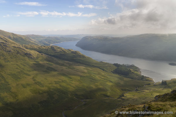 01M-2417 Haweswater and Riggindale From Eagle Crag as Early Morning Mist Lifts Lake District Cumbria UK.