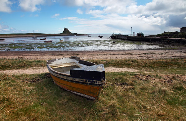 02D-2513 Old Fishing Boat and Lindisfarne Castle Across the Harbour Holy Isle Northumberland