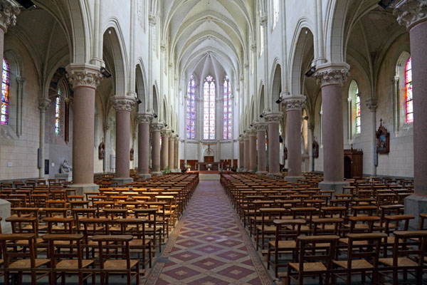 02D-6659 The Interior of Eglise Saint Symphorien in the Small Town of Montjean Sur Loire France